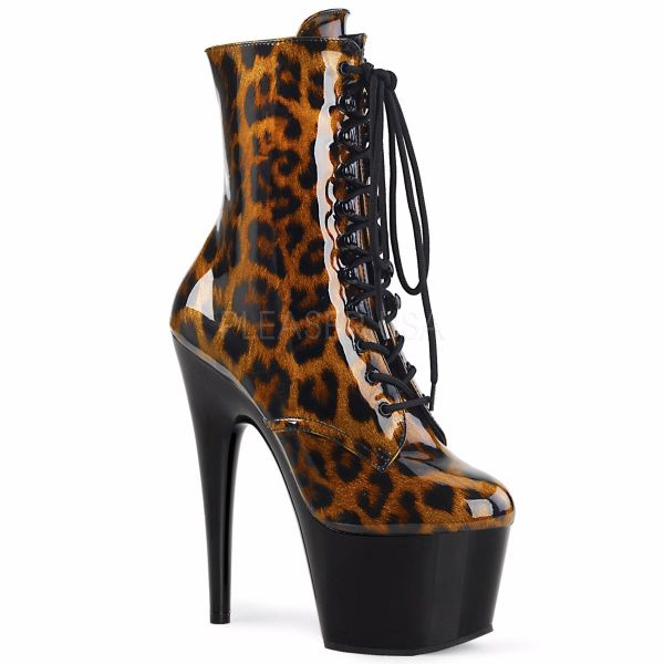 Product image of Pleaser Adore-1020Lp Brown-Black Leopard Patent/Black, 7 inch (17.8 cm) Heel, 2 3/4 inch (7 cm) Platform Ankle Boot