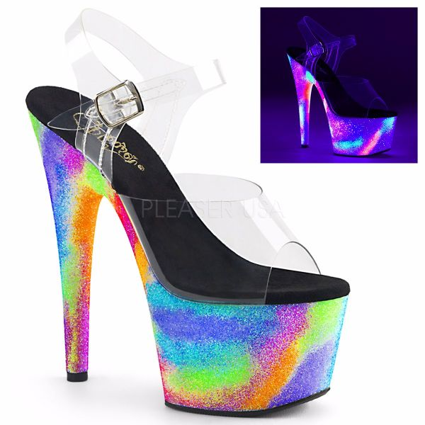 Product image of Pleaser Adore-708Gxy Clear/Neon Galaxy Glitter, 7 inch (17.8 cm) Heel, 2 3/4 inch (7 cm) Platform Sandal Shoes