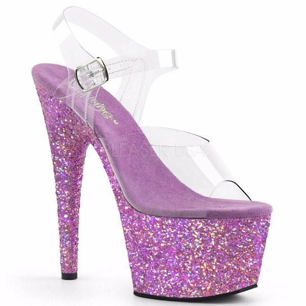 Product image of Pleaser Adore-708Lg Clear/Lavender Multi Glitter, 7 inch (17.8 cm) Heel, 2 3/4 inch (7 cm) Platform Sandal Shoes