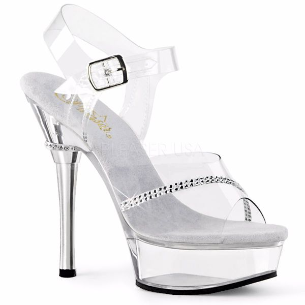 Product image of Pleaser Allure-608R Clear/Clear, 5 1/2 inch (14 cm) Heel, 1 1/2 inch (3.8 cm) Platform Sandal Shoes