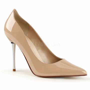 Product image of Pleaser Appeal-20 Nude Patent, 4 inch (10.2 cm) Metal Stiletto Heel Court Pump Shoes