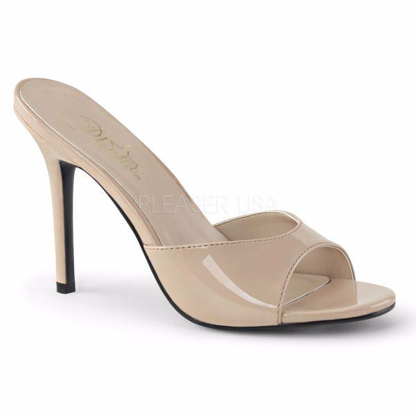 Product image of Pleaser Classique-01 Nude Patent, 4 inch (10.2 cm) Heel Slide Mule Shoes
