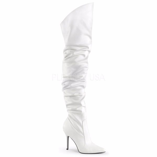 Product image of Pleaser Classique-3011 White Faux Leather, 4 inch (10.2 cm) Heel Thigh High Boot