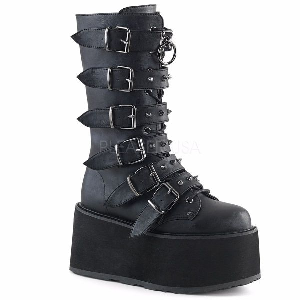 Product image of Demonia Damned-225 Black Vegan Leather, 3 1/2 inch Platform Knee High Boot