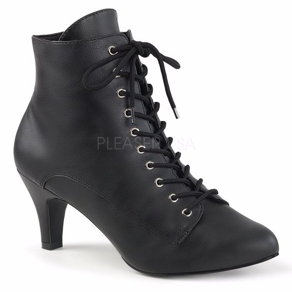 Product image of Pleaser Pink Label Divine-1020 Black Faux Leather, 3 inch (7.6 cm) Heel Ankle Boot
