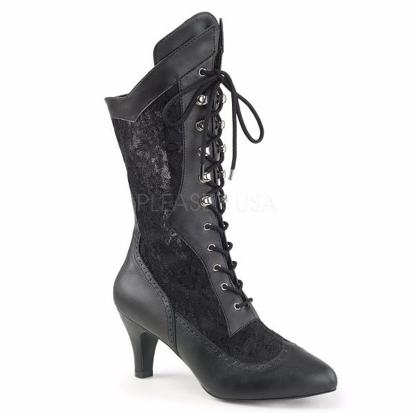 Product image of Pleaser Pink Label Divine-1050 Black Faux Leather-Satin Lace, 3 inch (7.6 cm) Heel Ankle Boot