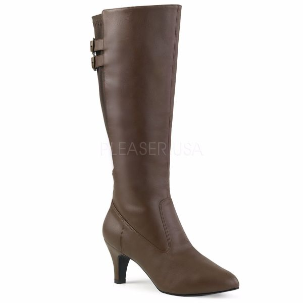 Product image of Pleaser Pink Label Divine-2018 Brown Faux Leather, 3 inch (7.6 cm) Heel Knee High Boot