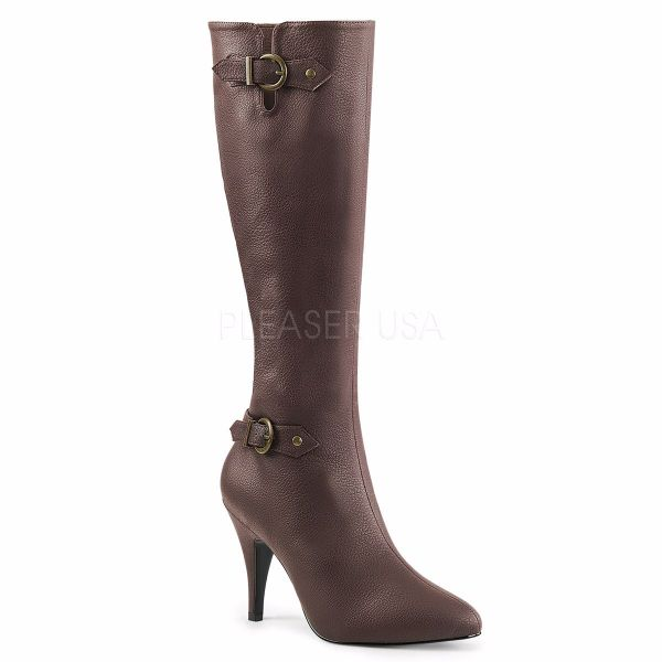 Product image of Pleaser Pink Label Dream-2030 Brown Faux Leather, 4 inch (10.2 cm) Heel Knee High Boot