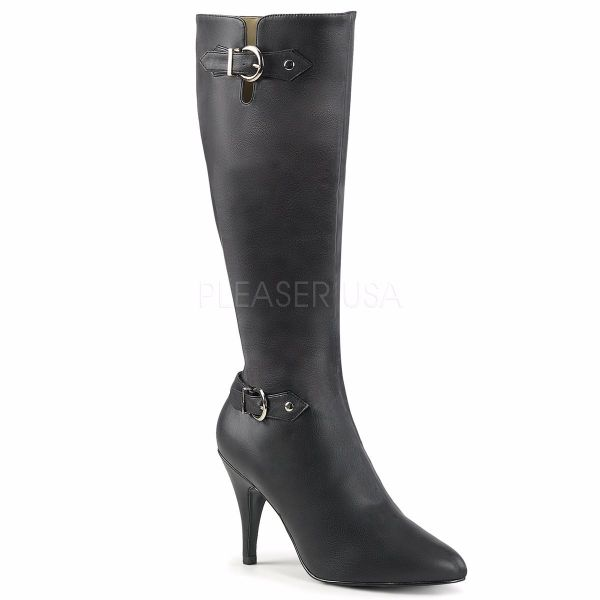 Product image of Pleaser Pink Label Dream-2030 Black Faux Leather, 4 inch (10.2 cm) Heel Knee High Boot
