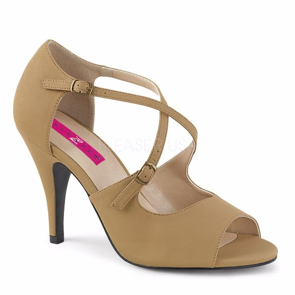 Product image of Pleaser Pink Label Dream-412 Taupe Nubuck, 4 inch (10.2 cm) Heel Sandal Shoes