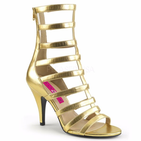 Product image of Pleaser Pink Label Dream-438 Gold Met.Pu, 4 inch (10.2 cm) Heel Ankle Boot