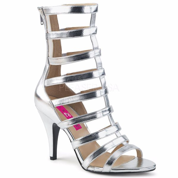 Product image of Pleaser Pink Label Dream-438 Silver Met. Pu, 4 inch (10.2 cm) Heel Ankle Boot
