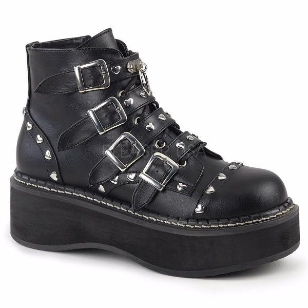 Product image of Demonia Emily-315 Black Vegan Leather, 2 inch Platform Ankle Boot