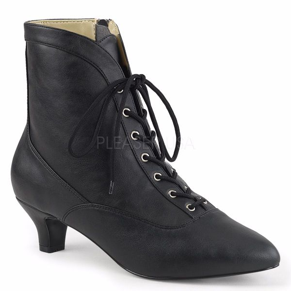 Product image of Pleaser Pink Label Fab-1005 Black Faux Leather, 2 inch (5.1 cm) Heel Ankle Boot