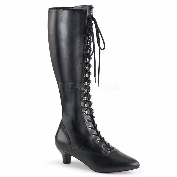 Product image of Pleaser Pink Label Fab-2023 Black Stretch Faux Leather, 2 inch (5.1 cm) Heel Knee High Boot