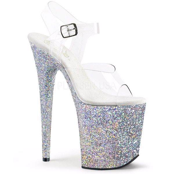 Product image of Pleaser Flamingo-808Lg Clear/Silver Multi Glitter, 8 inch (20.3 cm) Heel, 4 inch (10.2 cm) Platform Sandal Shoes