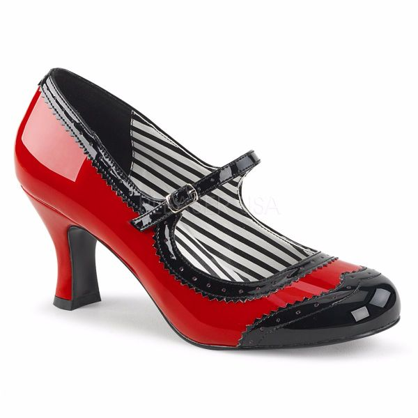 Product image of Pleaser Pink Label Jenna-06 Red-Black Patent, 3 inch (7.6 cm) Heel Court Pump Shoes