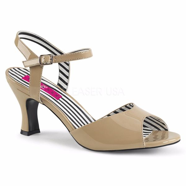 Product image of Pleaser Pink Label Jenna-09 Cream Patent, 3 inch (7.6 cm) Heel Sandal Shoes
