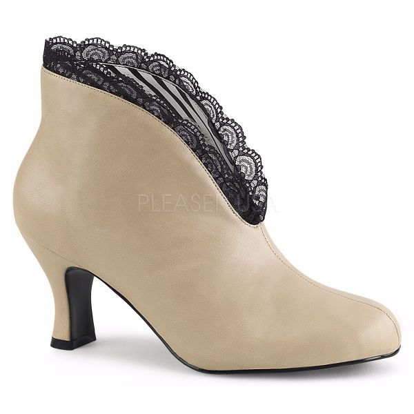 Product image of Pleaser Pink Label Jenna-105 Cream Faux Leather-Black Lace, 3 inch (7.6 cm) Heel Ankle Boot