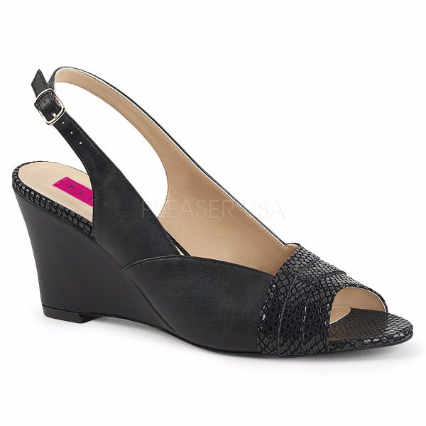 Product image of Pleaser Pink Label Kimberly-01Sp Black Faux Leather, 3 inch (7.6 cm) Wedge Sandal Shoes