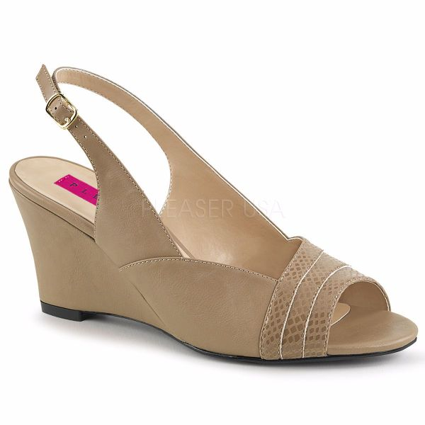 Product image of Pleaser Pink Label Kimberly-01Sp Taupe Faux Leather, 3 inch (7.6 cm) Wedge Sandal Shoes