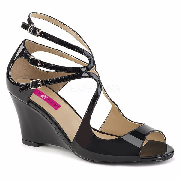 Product image of Pleaser Pink Label Kimberly-04 Black Patent, 3 inch (7.6 cm) Wedge Sandal Shoes