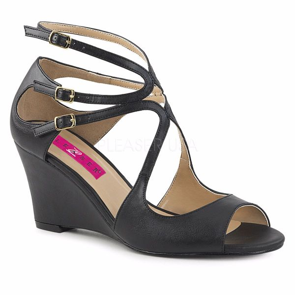 Product image of Pleaser Pink Label Kimberly-04 Black Faux Leather, 3 inch (7.6 cm) Wedge Sandal Shoes
