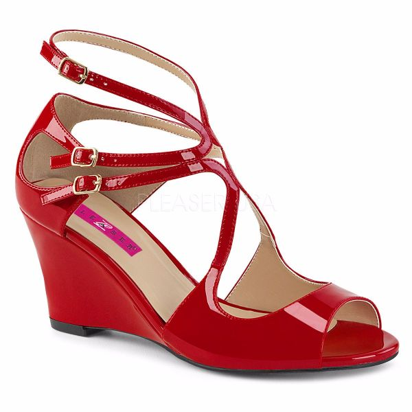 Product image of Pleaser Pink Label Kimberly-04 Red Patent, 3 inch (7.6 cm) Wedge Sandal Shoes