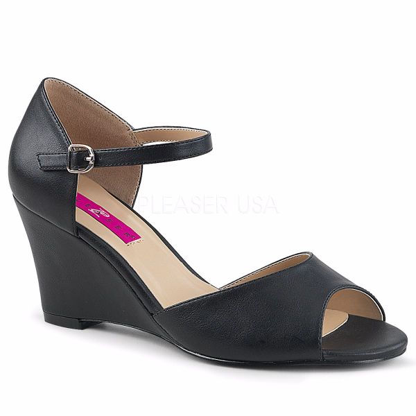 Product image of Pleaser Pink Label Kimberly-05 Black Faux Leather, 3 inch (7.6 cm) Wedge Sandal Shoes