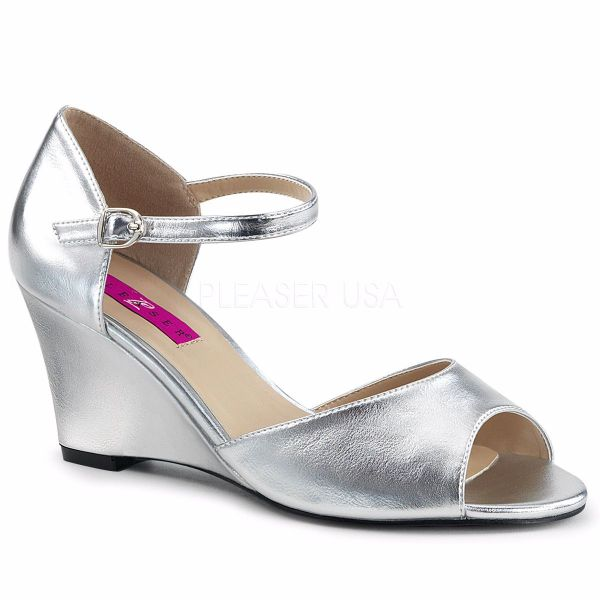 Product image of Pleaser Pink Label Kimberly-05 Silver Met. Pu, 3 inch (7.6 cm) Wedge Sandal Shoes