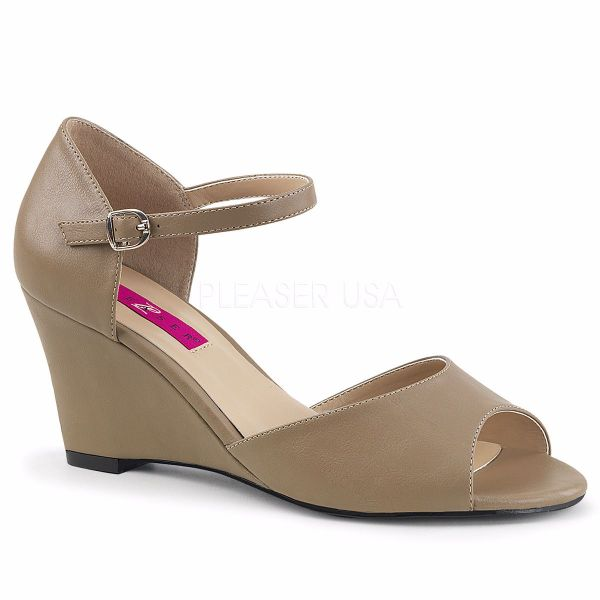 Product image of Pleaser Pink Label Kimberly-05 Taupe Faux Leather, 3 inch (7.6 cm) Wedge Sandal Shoes