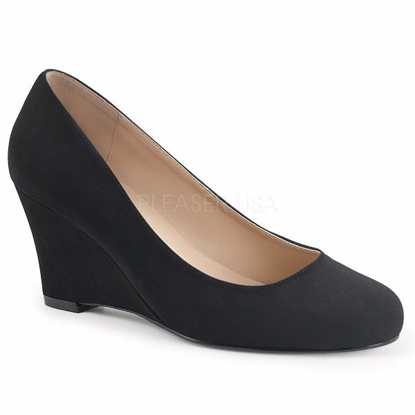 Product image of Pleaser Pink Label Kimberly-08 Black Nubuck Suede, 3 inch (7.6 cm) Wedge Court Pump Shoes