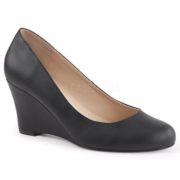 Product image of Pleaser Pink Label Kimberly-08 Black Faux Leather, 3 inch (7.6 cm) Wedge Court Pump Shoes