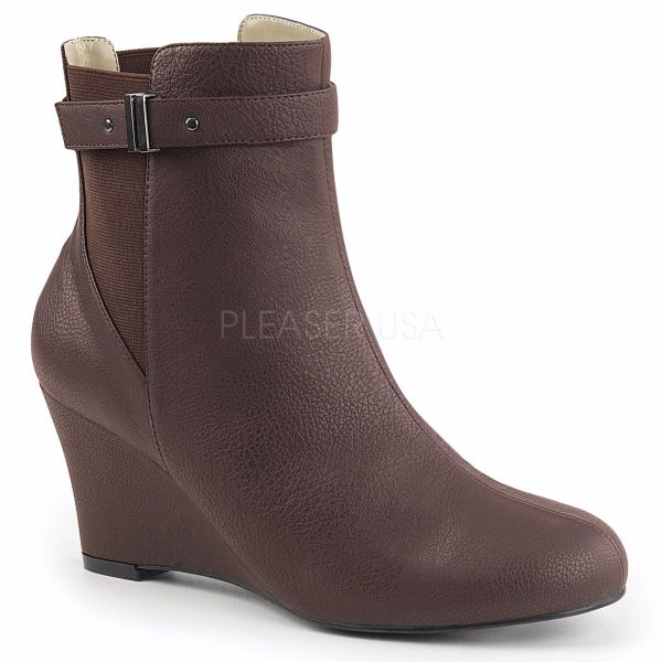 Product image of Pleaser Pink Label Kimberly-102 Brown Faux Leather, 3 inch (7.6 cm) Heel Ankle Boot