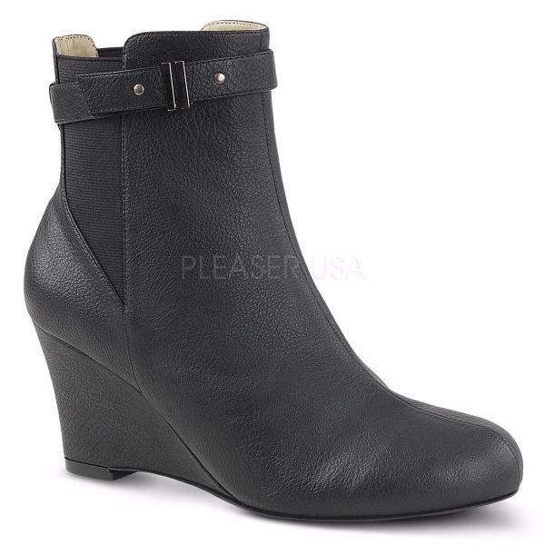 Product image of Pleaser Pink Label Kimberly-102 Black Faux Leather, 3 inch (7.6 cm) Heel Ankle Boot