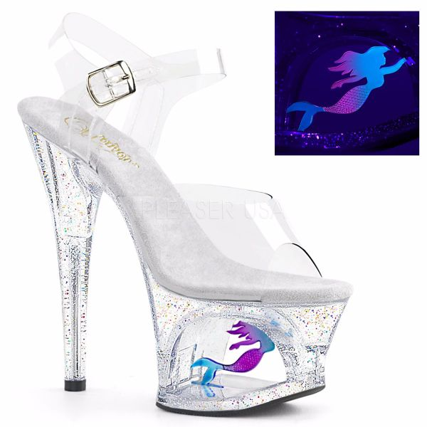 Product image of Pleaser Moon-708Mer Clear/Clear, 7 inch (17.8 cm) Heel, 2 3/4 inch (7 cm) Platform Sandal Shoes