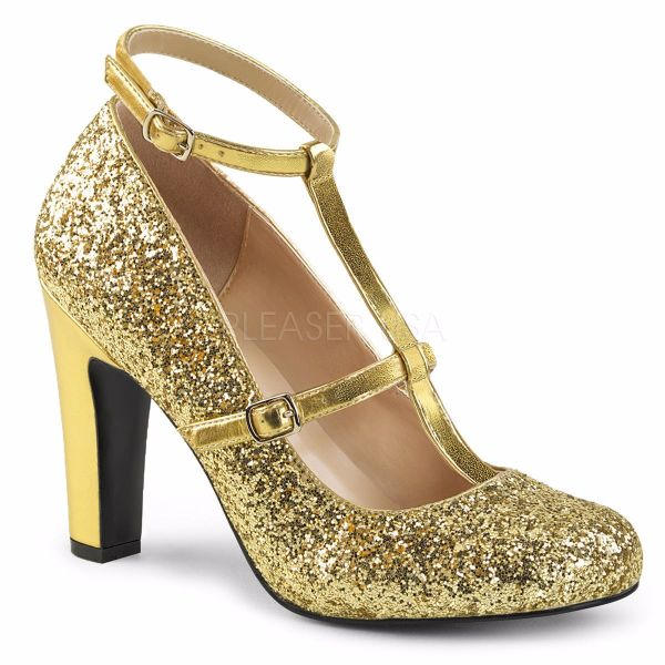 Product image of Pleaser Pink Label Queen-01 Gold Glitter-Met. Pu, 4 inch (10.2 cm) Heel Court Pump Shoes