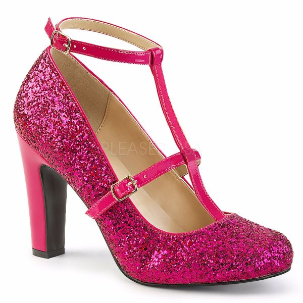 Product image of Pleaser Pink Label Queen-01 Hot Pink Glitter-Patent, 4 inch (10.2 cm) Heel Court Pump Shoes