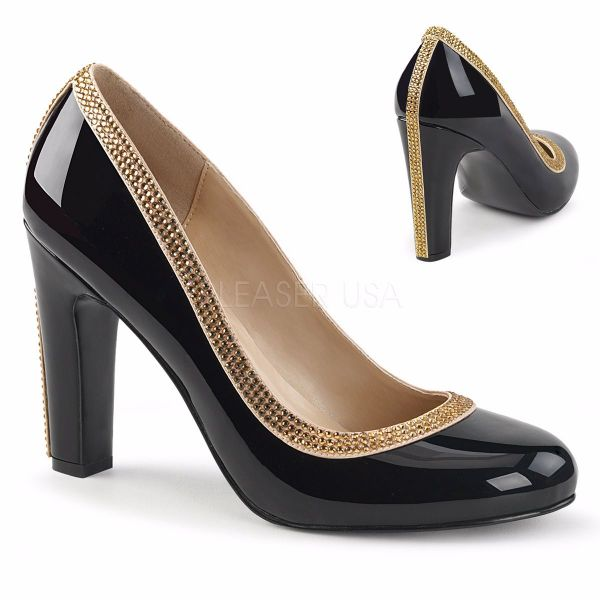 Product image of Pleaser Pink Label Queen-04 Black Patent, 4 inch (10.2 cm) Heel Court Pump Shoes