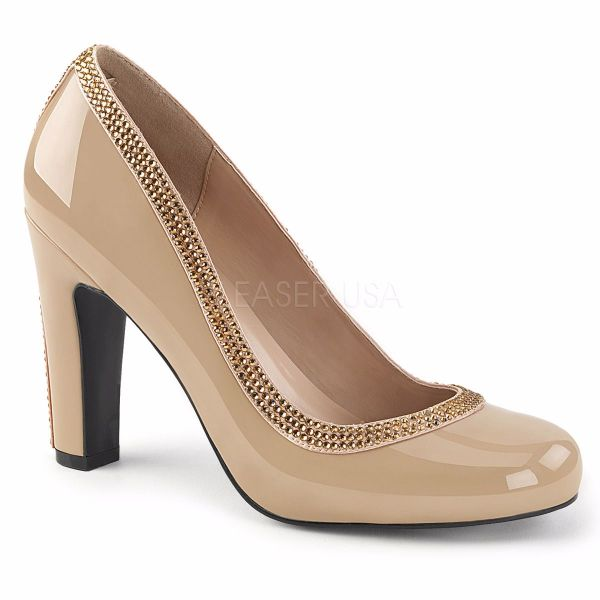 Product image of Pleaser Pink Label Queen-04 Cream Patent, 4 inch (10.2 cm) Heel Court Pump Shoes