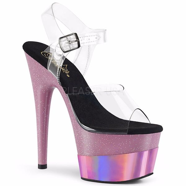 Product image of Pleaser ADORE-708-2HGM Clear/Baby Pink Glitter Holographic 7 inch (17.8 cm) Heel 2 3/4 inch (7 cm) Platform Ankle Strap Sandal Shoes