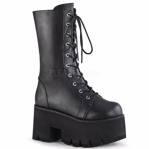 Product image of Demonia ASHES-105 Black Vegan Faux Leather 3 1/2 inch (9 cm) Chunky Heel 2 1/4 inch (5.7 cm) Platform Lace-Up Mid-Calf Bt Side Zip