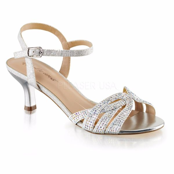 Product image of Fabulicious AUDREY-03 Silver Shimmering Fabric 2 1/2 inch (6.4 cm) Kitten Heel Ankle Strap Criss-Cross Sandal Shoes