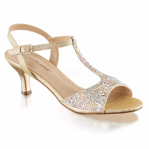 Product image of Fabulicious AUDREY-05 Nude Shimmering Fabric 2 1/2 inch (6.4 cm) Kitten Heel T-Straps Sandal Shimmer Shoes