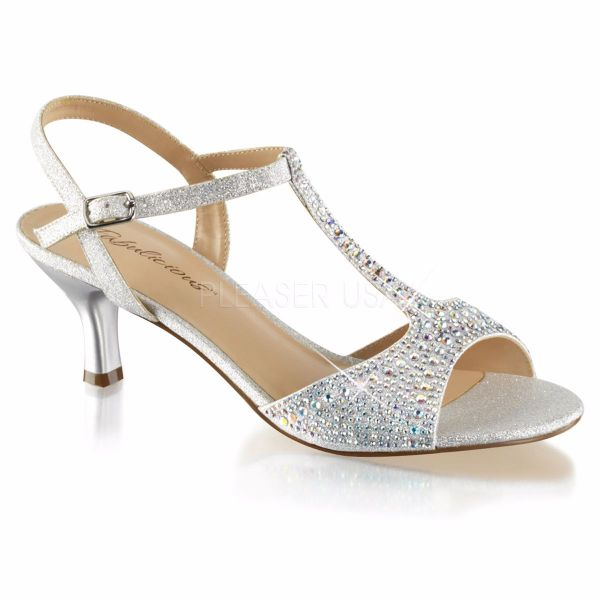 Product image of Fabulicious AUDREY-05 Silver Shimmering Fabric 2 1/2 inch (6.4 cm) Kitten Heel T-Straps Sandal Shimmer Shoes