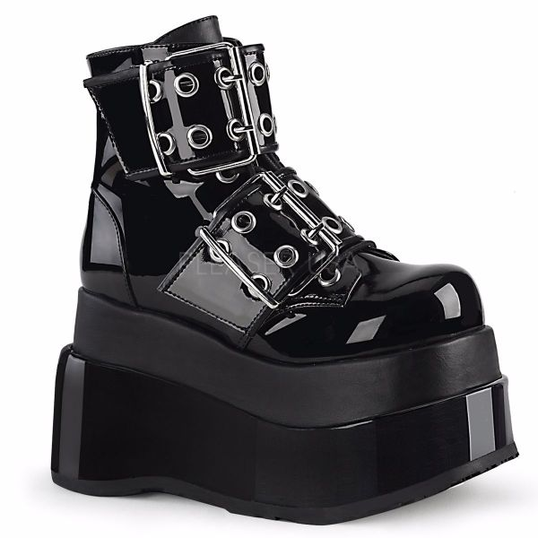 Product image of Demonia BEAR-104 Black Patent-Vegan Faux Leather 4 1/2 inch Tiered Platform Lace-Up Ankle Boot Side Zip