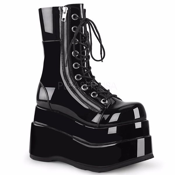 Product image of Demonia BEAR-265 Black Patent 4 1/2 inch Tiered Platform Lace-Up Mid-Calf Boot Inner & Outer Zip