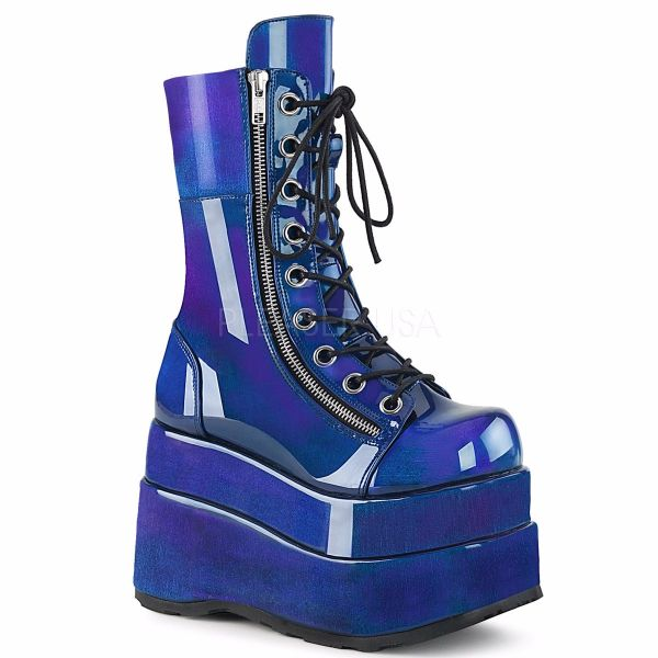 Product image of Demonia BEAR-265 Blue-Purple Patent 4 1/2 inch Tiered Platform Lace-Up Mid-Calf Boot Inner & Outer Zip