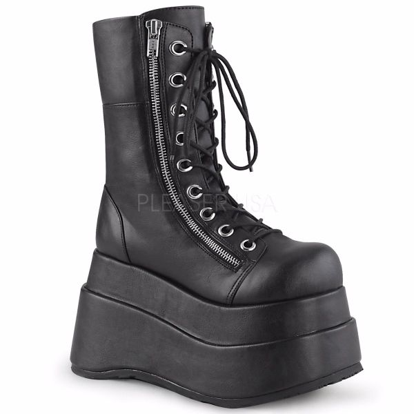 Product image of Demonia BEAR-265 Black Vegan Faux Leather 4 1/2 inch Tiered Platform Lace-Up Mid-Calf Boot Inner & Outer Zip