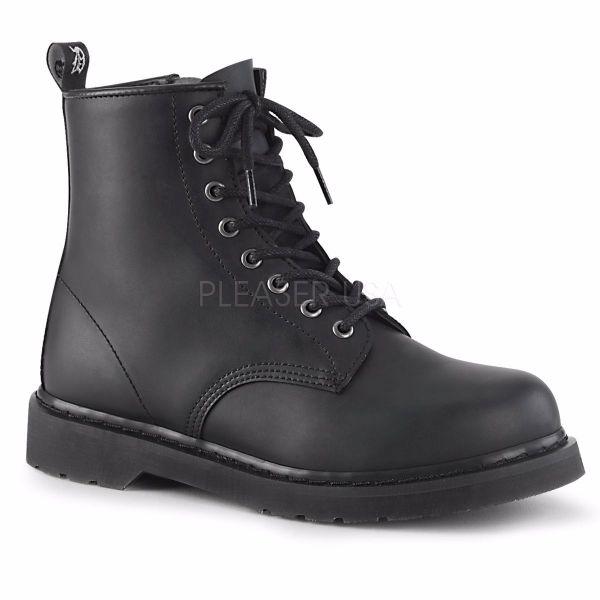 Product image of Demonia Bolts-100 Black Vegan Faux Leather 1 1/4 inch (3.2 cm) Heel 8-Eyelet Mid Calf Unisex Vegan Boot Side Zip